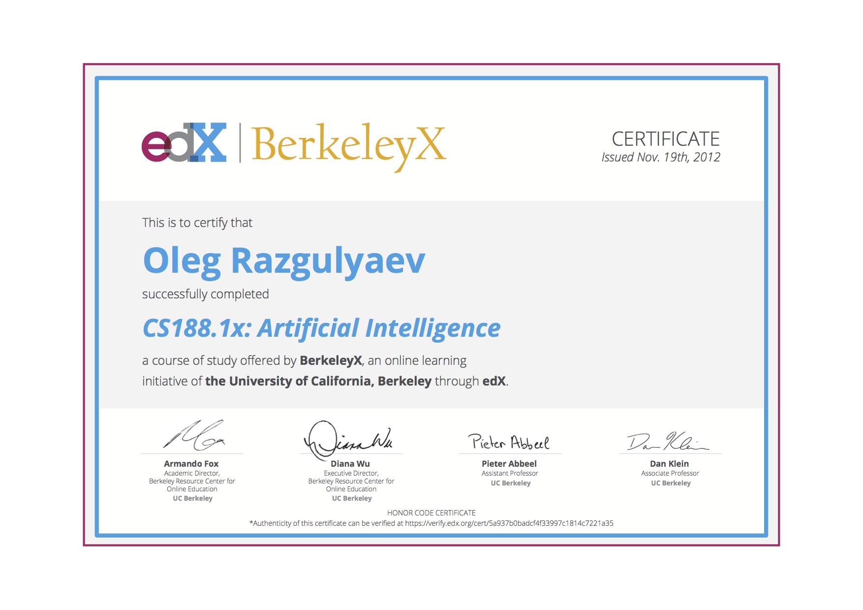 Oleg Razgulyaev's Certificates