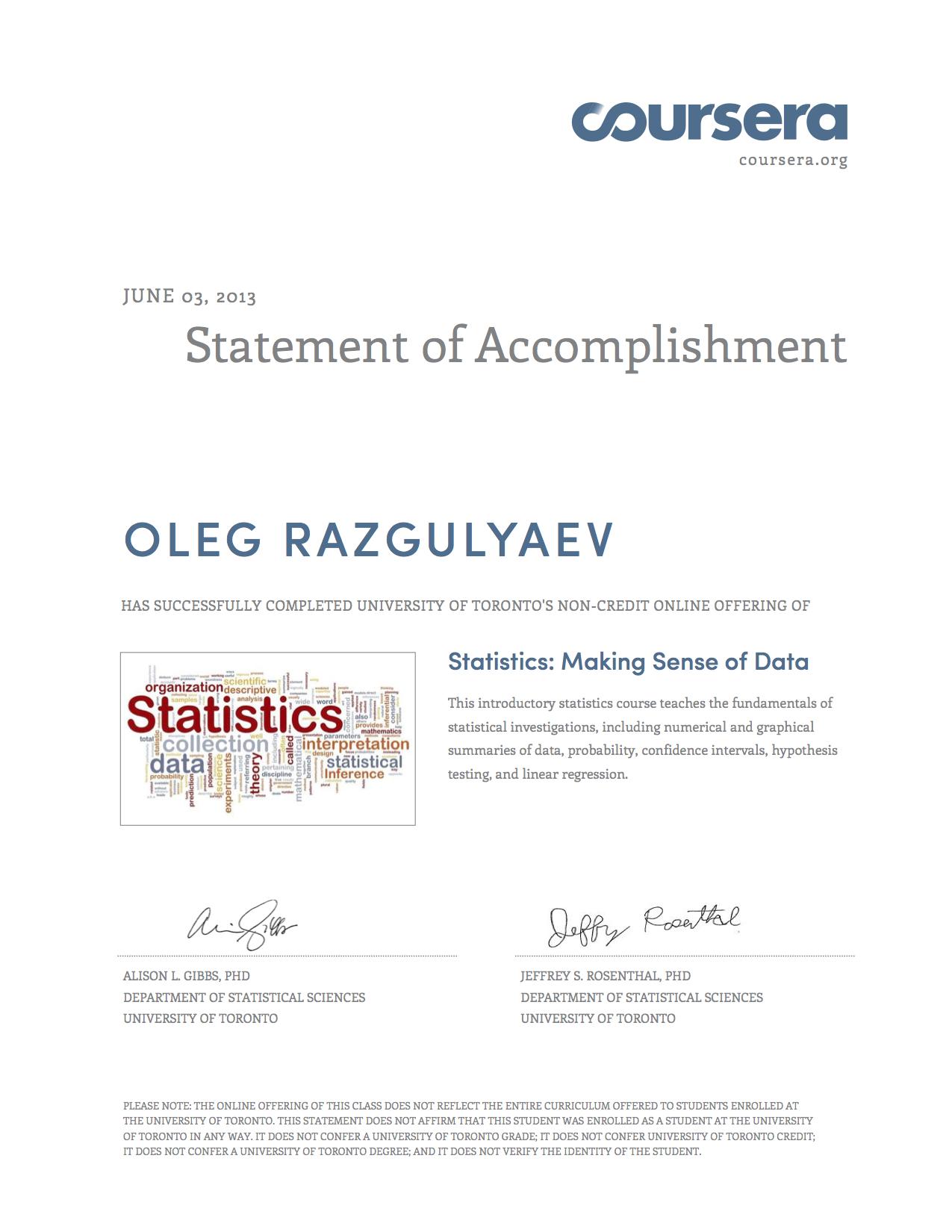 Oleg Razgulyaevs Certificates