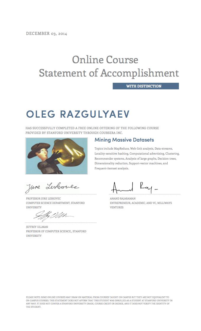 Oleg Razgulyaev\'s Certificates